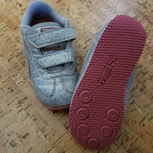 Puma toddler sneakers silver sparkle size 7